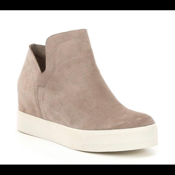 57505ad9240 Steve Madden Wrangle Suede Platform Wedge Sneakers.  M 5bf4205e3e0caa7faf3c82e2